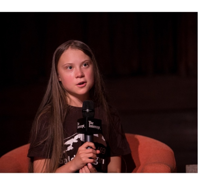 Greta Thunberg with microphone