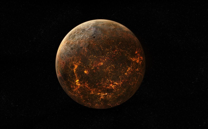 Planets Without Suns - Planet with hot, molten surface.