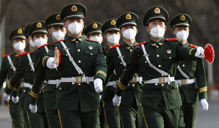COVID-19 Outbreak Chinese Soldiers Wearing Masks