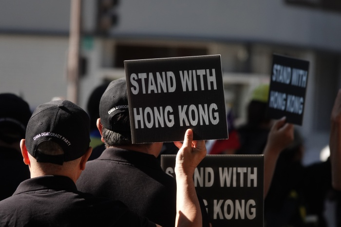 Hong Kong Crackdown Protestors with Signs