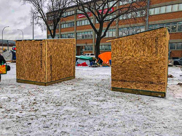Huts for the Homeless beside tent city