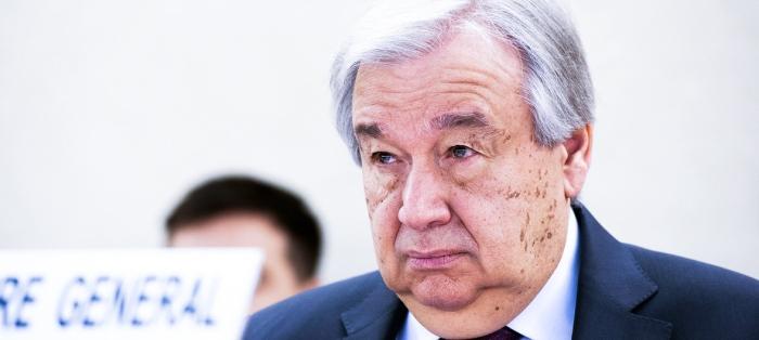 Human Rights Call to Action Antonio Guterres at podium