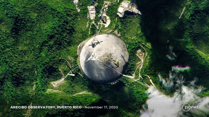 Arecibo Observatory Seen from Above Showing Damage