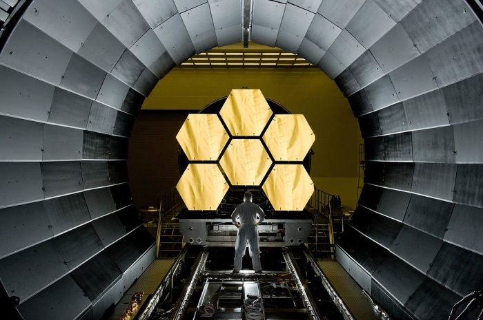 James Webb Space Telescope - Technician Inspecting Mirror