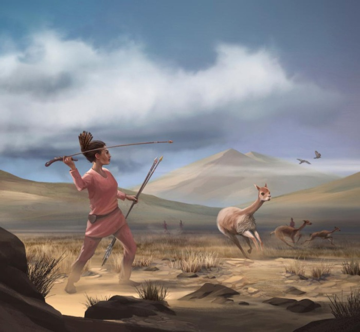 Female Hunter Throwing Spear at Wild Llama