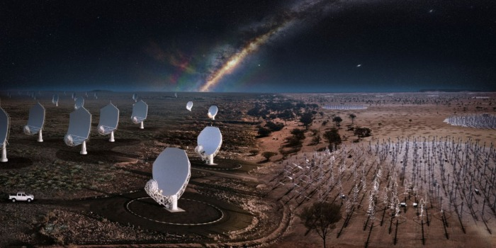 Square Kilometre Array Observatory at night with dish and wire antennas